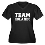 TEAM ROLANDO Women's Plus Size V-Neck Dark T-Shirt