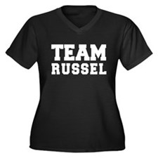 TEAM RUSSEL Women's Plus Size V-Neck Dark T-Shirt