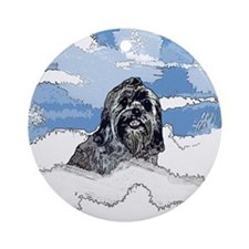 Lhasa Apso Christmas Winter Blitz Ornament (Round)