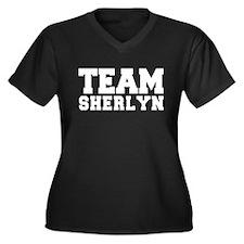 TEAM SHERLYN Women's Plus Size V-Neck Dark T-Shirt