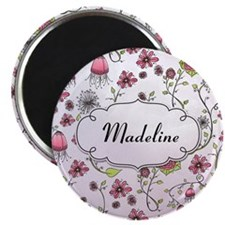 Whimsical flowers with text frame Magnet