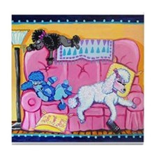 Cute Poodles Tile Coaster