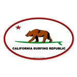 Ca. Surfing Republic Oval Sticker
