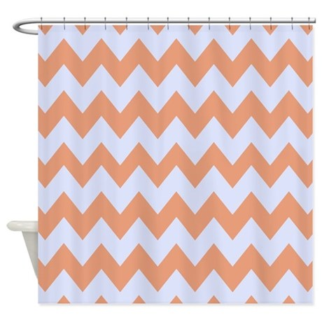 Baby Blue and Peach Chevron Stripes Shower Curtain by
