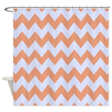 bathroom d cor baby blue and peach chevron stripes shower curtain
