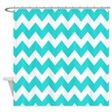 Teal and White Chevron Shower Curtain