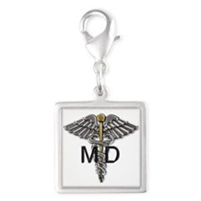 MD Symbol Silver Square Charm