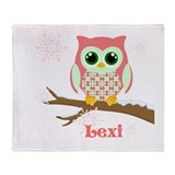 Custom name winter owl girl Throw Blanket