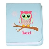 Custom name winter owl girl baby blanket