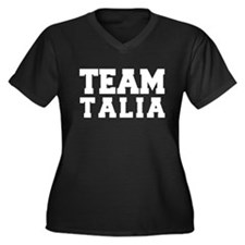 TEAM TALIA Women's Plus Size V-Neck Dark T-Shirt