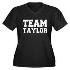 TEAM TAYLOR Women's Plus Size V-Neck Dark T-Shirt