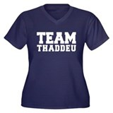 TEAM THADDEU Women's Plus Size V-Neck Dark T-Shirt