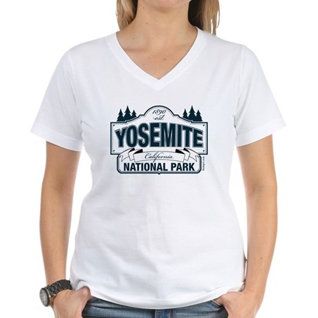 Yosemite Slate Blue Women's V-Neck T-Shirt