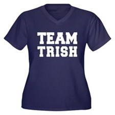 TEAM TRISH Women's Plus Size V-Neck Dark T-Shirt