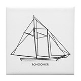 Schooner Sailboat Logo Tile Coaster