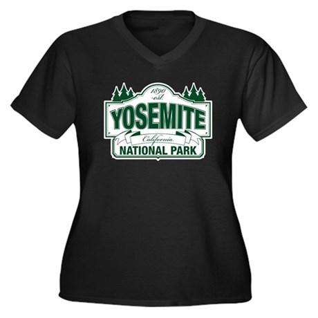 Yosemite Green Sign Women's Plus Size V-Neck Dark