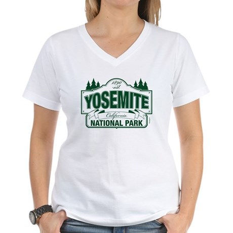 Yosemite Green Sign Women's V-Neck T-Shirt