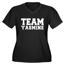 TEAM YASMINE Women's Plus Size V-Neck Dark T-Shirt