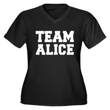 TEAM ALICE Women's Plus Size V-Neck Dark T-Shirt