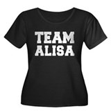TEAM ALISA Women's Plus Size Scoop Neck Dark T-Shi