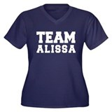 TEAM ALISSA Women's Plus Size V-Neck Dark T-Shirt