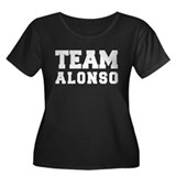 TEAM ALONSO Women's Plus Size Scoop Neck Dark T-Sh
