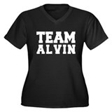 TEAM ALVIN Women's Plus Size V-Neck Dark T-Shirt