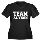 TEAM ALYSON Women's Plus Size V-Neck Dark T-Shirt