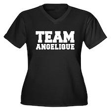 TEAM ANGELIQUE Women's Plus Size V-Neck Dark T-Shi