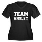 TEAM ANSLEY Women's Plus Size V-Neck Dark T-Shirt
