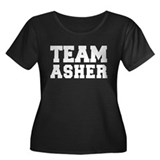 TEAM ASHER Women's Plus Size Scoop Neck Dark T-Shi
