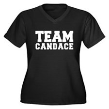 TEAM CANDACE Women's Plus Size V-Neck Dark T-Shirt