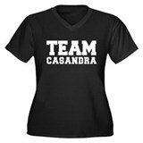 TEAM CASANDRA Women's Plus Size V-Neck Dark T-Shir