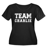 TEAM CHARLIE Women's Plus Size Scoop Neck Dark T-S