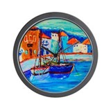 Chios Harbor Wall Clock