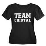 TEAM CRISTAL Women's Plus Size Scoop Neck Dark T-S