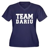 TEAM DARIU Women's Plus Size V-Neck Dark T-Shirt