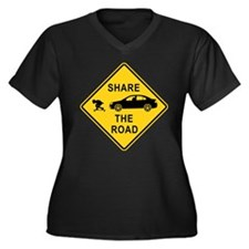 Share the road Women's Plus Size V-Neck Dark T-Shi