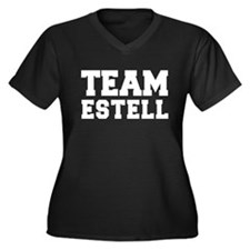 TEAM ESTELL Women's Plus Size V-Neck Dark T-Shirt