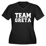 TEAM GRETA Women's Plus Size V-Neck Dark T-Shirt