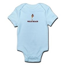 Wells Beach ME - Lighthouse Design. Infant Bodysui