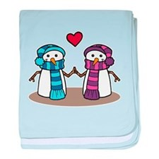 Snowman Couple baby blanket