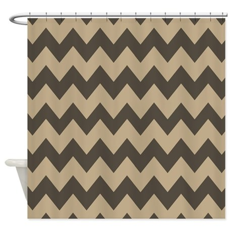 Dark Brown And Tan Chevron Shower Curtain By Chevroncitystripes