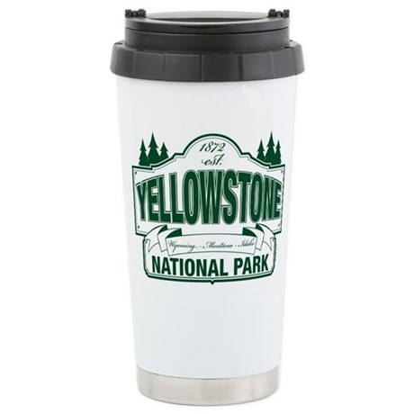 Green Yellowstone Ceramic Travel Mug