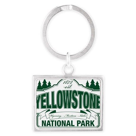 Yellowstone Green Design Landscape Keychain
