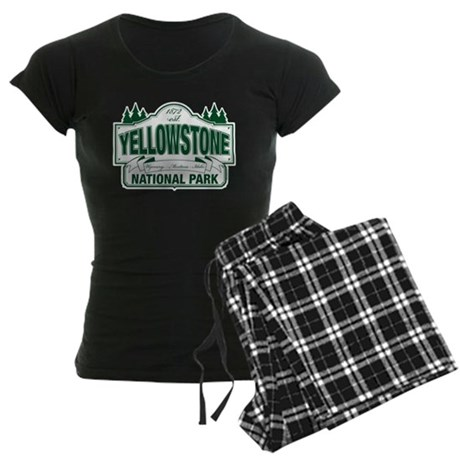 Yellowstone Green Design Women's Dark Pajamas