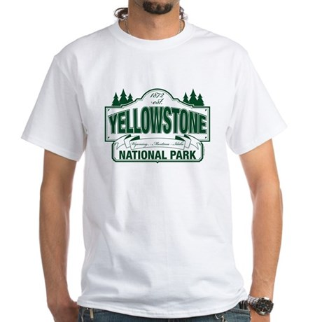 Yellowstone Green Design White T-Shirt