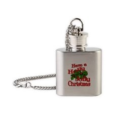 Holly Jolly Xmas Flask Necklace