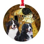 The Kiss - Two Bernese Round Ornament