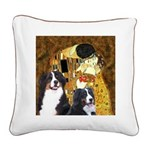 The Kiss - Two Bernese Square Canvas Pillow
